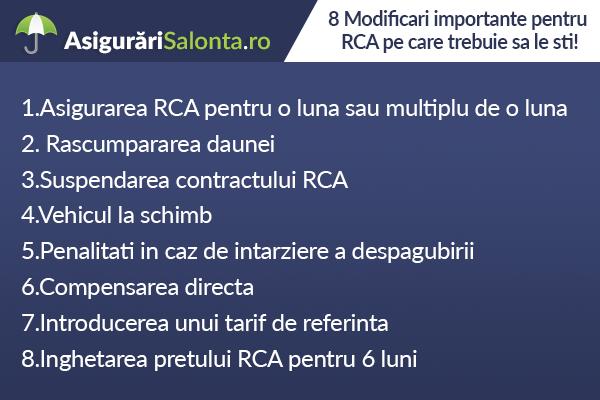 8 Modificari importante pentru RCA pe care trebuie sa le sti!