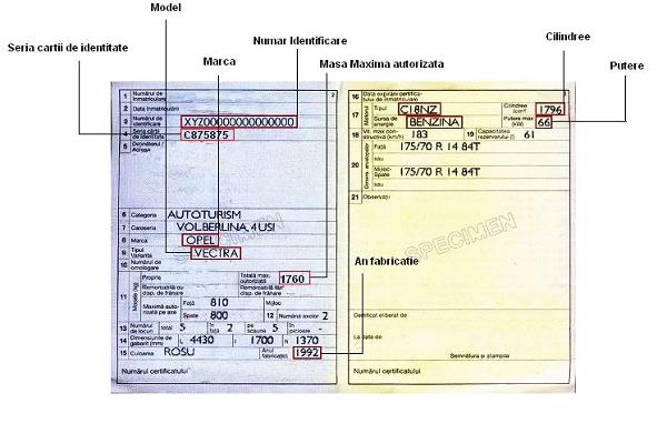 Certificat de Inmatriculare Auto Legenda